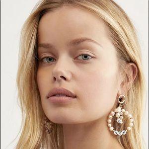 Free People Hoop Earrings Letter Beads Faux Pearl